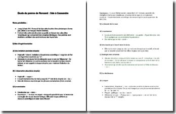 Lecture analytique du poême de Pierre de Ronsard : Ode à Cassandre