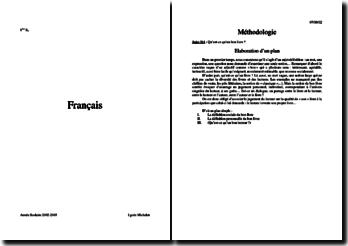 Cours de français (1re S) : élaboration d'un plan, théâtre au 18ème siècle, biographique...