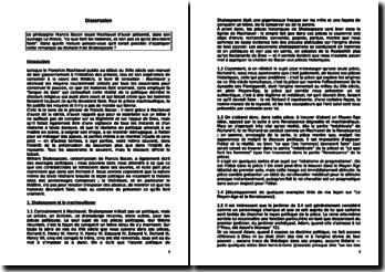 Dissertation sur une comparaison entre Françis Bacon et William Shakespeare