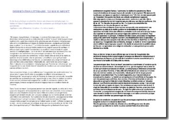 Ionesco, Le roi se meurt, Dissertation