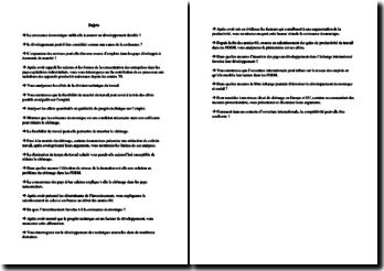 Liste de sujets en économie au baccalauréat