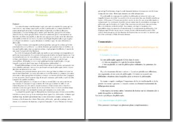 Lecture analytique de l'article « Philosophe » de Dumarsais