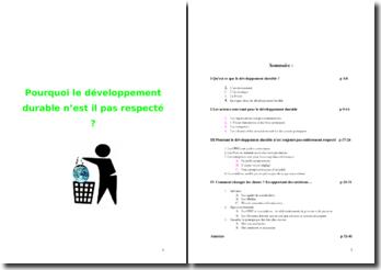 Le développement durable et son respect