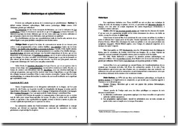 Edition électronique et cyberlittérature
