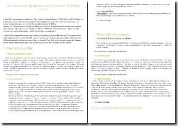 Balzac, Le monologue de Mme de Beauséant