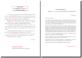 Lettre de recommandation pour un échange universitaire