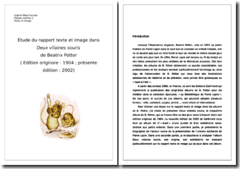 Analyse d'un album de Beatrix Potter