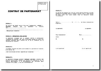 Contrat type de partenariat pour sponsoring d'association