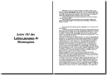 Lettre 161 des « Lettres persanes » de Montesquieu