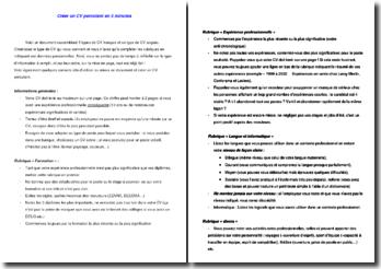 Modèles de CV français et anglais