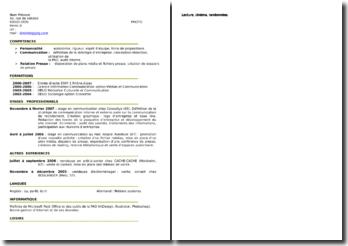 CV pour un stage ou emploi en communication