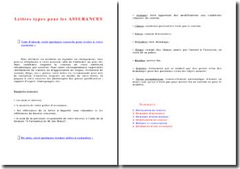 Lettres types pour les assurances