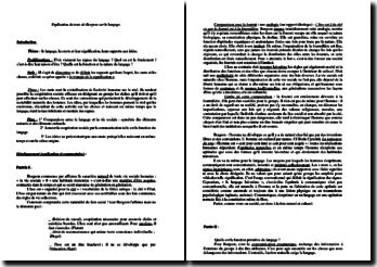 Explication du Texte de Bergson sur le langage