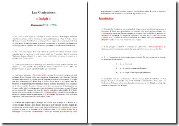 Rousseau, Confessions, Incipit