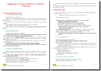 La France de Richelieu et de Mazarin