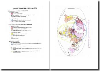 L'organisation de l'espace mondial, centres et périphéries (croquis)