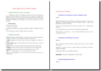 Lettres types argent / crédit / banque