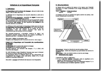 L'initiation à la linguistique française