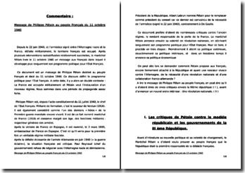 Commentaire du message de Philippe Pétain au peuple Français du 11 octobre 1940