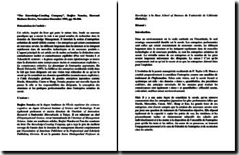 « The Knowledge-Creating Company », Ikujiro Nonaka, Harvard Business Review, November-December 1991, pp. 96-104