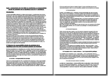 Commentaire de l'article 68 de la Constitution : la responsabilité penale du Président de la République sous la Ve République