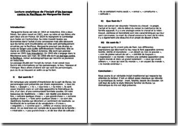 Marguerite Duras, Un barrage contre le Pacifique, Incipit