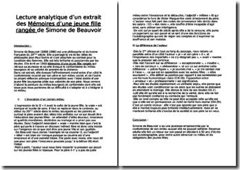 Simone de Beauvoir, Mémoires d'une jeune fille rangée, Etude d'un extrait