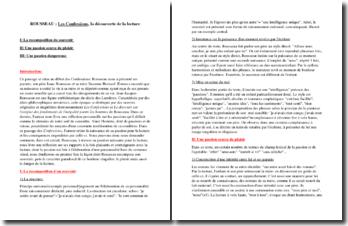 La passion de la lecture, Rousseau, Les Confessions I