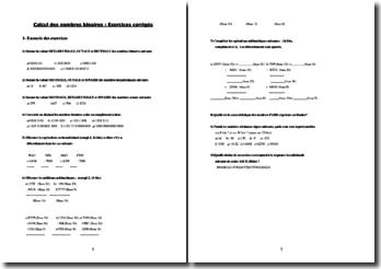 Calcul des nombres binaires : exercices corrigés