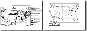 Carte de Géographie : l'organisation de l'espace des Etats-Unis