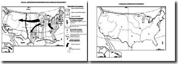 Carte de Géographie sur les USA : répartition des hommes et dynamiques du peuplement