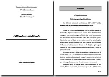 Littérature médiévale : biographie légendaire d'Arthur