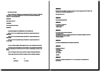 Modèle type de statuts d'association loi 1901 : association étudiante