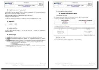 Procédure : gestion de la documentation et des enregistrements