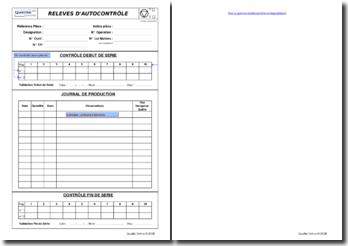 Feuille d'enregistrement des résultats d'autocontrôle