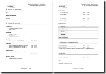 Questionnaire d'évaluation fournisseur