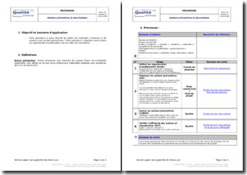 Processus détaillé pour la gestion des actions préventives