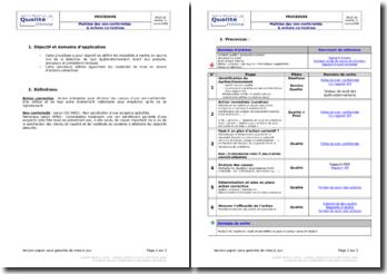 Processus détaillé pour la gestion des actions correctives