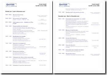 Planning d'audit interne ISO 9001-2000