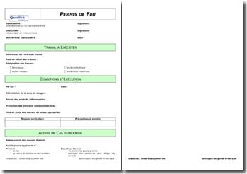Modèle de formulaire : permis de feu