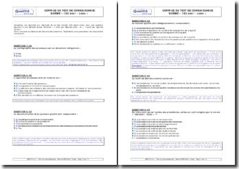 Corrigé du test ISO 9001