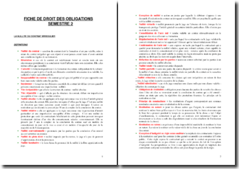 Fiche de droit des obligations : définitions et articles de loi