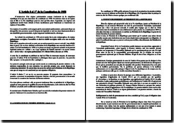 Commentaire de l'article 8 alinéa premier de la Constitution