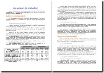 Les facteurs de production : fecteur travail et facteur capital