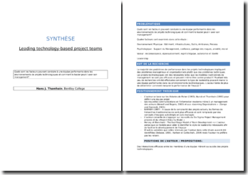 Synthèse de l'article Leading technology-based project teams (Thamhain)