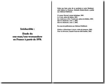 Robert-Reich Michelle, Etude du one-man et one-woman show en France, à partir de 1970