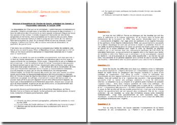 Correction du baccalauréat 2007 épreuve courte d'histoire et géographie (Discours d'investiture de De Gaulle)
