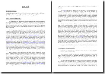 Analyse de l'oeuvre de Dom Juan, de Molière