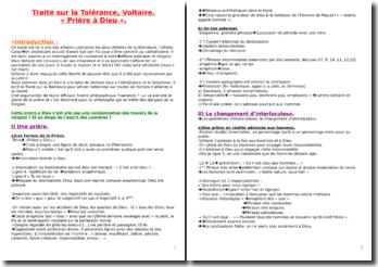 Prière à Dieu tiré de l'ouvrage Le Traité sur la Tolérance (Voltaire)