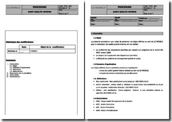 Modèle de procédure de gestion d'audit qualité interne conforme à la norme ISO 9001 version 2008